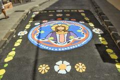 Sandteppich vom volkansand, zum des Corpus Christi zu etikettieren stockbild