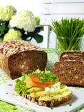 Sanduíche aberto com batatas Imagem de Stock Royalty Free