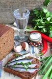 Sanduíche aberto das tradições do russo com sardinhas no pão de centeio com o copo de vinho da vodca Imagens de Stock
