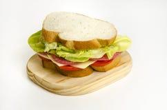Sanduíche amarelo de Chesse do Salami Imagens de Stock
