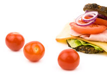Sanduíche caseiro com tomates de cereja Imagens de Stock Royalty Free
