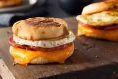 Sanduíche caseiro do ovo do café da manhã imagem de stock