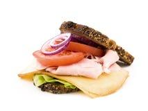 Sanduíche caseiro no fundo branco Foto de Stock Royalty Free