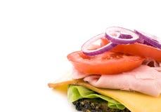 Sanduíche caseiro no fundo branco Imagem de Stock
