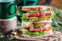 Sanduíche caseiro saboroso com presunto e vegetais Fotografia de Stock