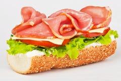 Sanduíche com alface e tomate do presunto imagens de stock