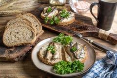 Sanduíche com arenques pequenos fotografia de stock