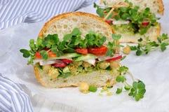 Sanduíche com brotos e vegetais do rabanete Imagens de Stock