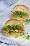 Sanduíche com brotos e vegetais do rabanete fotos de stock royalty free