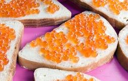 Sanduíche com caviar Imagem de Stock Royalty Free