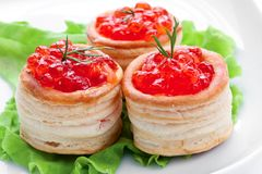 Sanduíche com caviar salmon Foto de Stock