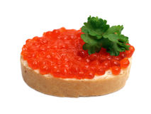 Sanduíche com caviar vermelho Imagens de Stock