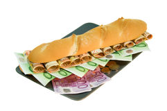 Sanduíche com dinheiro Foto de Stock Royalty Free