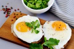 Sanduíche com Fried Egg Served saboroso em uma bandeja de madeira fotografia de stock royalty free