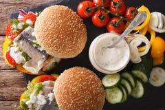 Sanduíche com os clos postos de conserva dos arenques, do molho e dos legumes frescos Fotos de Stock