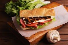 Sanduíche com os cogumelos do queijo e do cogumelo do tomate foto de stock