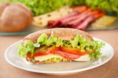 Sanduíche com queijo e salame Fotografia de Stock
