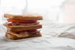 Sanduíche com queijo, tomate e carne fumado foto de stock