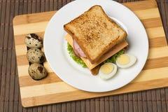 Sanduíche com queijo, tomate e carne fumado imagem de stock royalty free