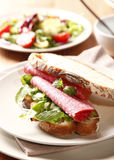 Sanduíche com salami Imagens de Stock