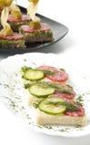 Sanduíche com salami Fotos de Stock