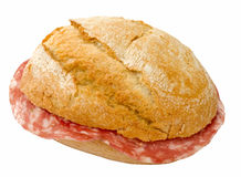 Sanduíche com salami fotografia de stock