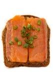 Sanduíche com salmões Fotos de Stock Royalty Free