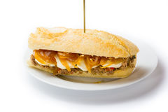 Sanduíche da carne com queijo doce da cebola e de cabra Alimento venezuelano Imagens de Stock Royalty Free