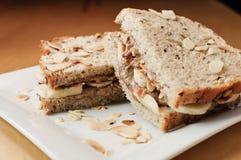 Sanduíche da manteiga da amêndoa Fotos de Stock Royalty Free
