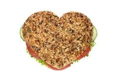 Sanduíche dado forma coração Fotos de Stock