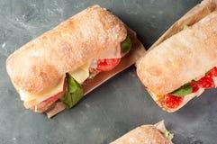 Sanduíche de Ciabatta com salame imagens de stock