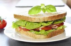 Sanduíche de clube com presunto e queijo Imagem de Stock