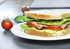 Sanduíche de clube com presunto e queijo Fotos de Stock Royalty Free