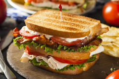 Sanduíche de clube de Turquia e de bacon Imagem de Stock Royalty Free
