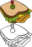 Sanduíche de galinha ilustração do vetor