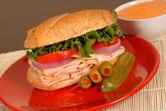 Sanduíche de Turquia e de queijo Foto de Stock Royalty Free