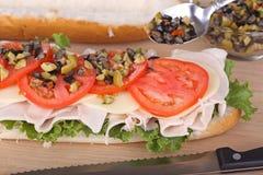 Sanduíche de Turquia e de queijo Foto de Stock
