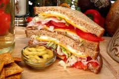 Sanduíche de turquia na cozinha foto de stock royalty free