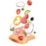 Sanduíche delicioso com os ingredientes no ar Fotografia de Stock
