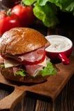Sanduíche delicioso com presunto, queijo e vegetais de prosciutto imagem de stock