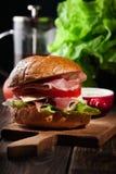 Sanduíche delicioso com presunto, queijo e vegetais de prosciutto Imagens de Stock