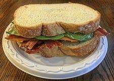 Sanduíche do bacon e dos espinafres Imagem de Stock Royalty Free
