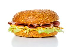 Sanduíche do Bagel do presunto e do queijo Imagem de Stock