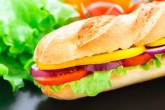 Sanduíche do baguette do vegetariano imagens de stock royalty free