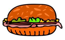 Sanduíche do hamburguer do bacon ilustração stock
