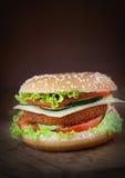Sanduíche do hamburguer da galinha fritada ou dos peixes Fotos de Stock Royalty Free