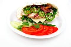 Sanduíche do pão de Pita fotos de stock