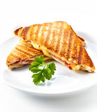Sanduíche do panini do presunto e do queijo fotos de stock royalty free
