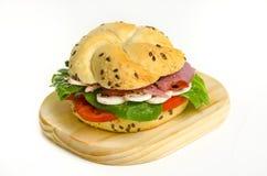 Sanduíche do Pastrami da carne com cogumelos Imagem de Stock