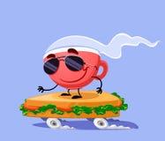 Sanduíche do patim do café Imagens de Stock Royalty Free